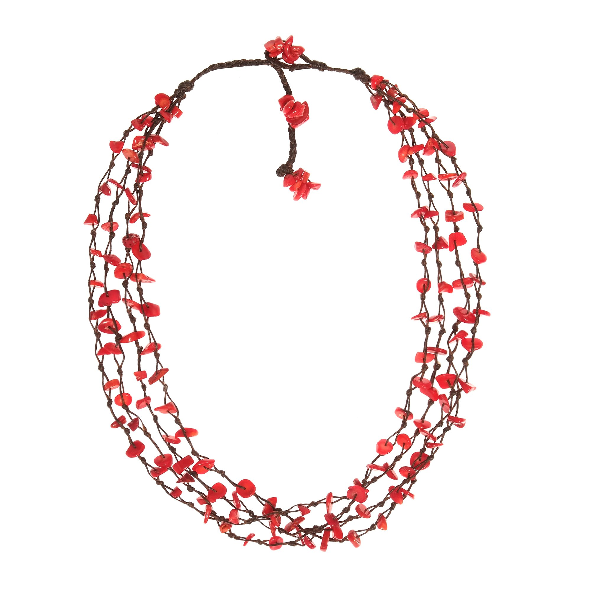 AeraVida Reconstructed Red Coral Cotton Wax Rope Beauty Multistrand Toggle Necklace