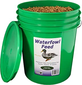 Natural Waterscapes Waterfowl Feed | Floating Pellets for Duck, Swan, Goose | 20 lb Pail