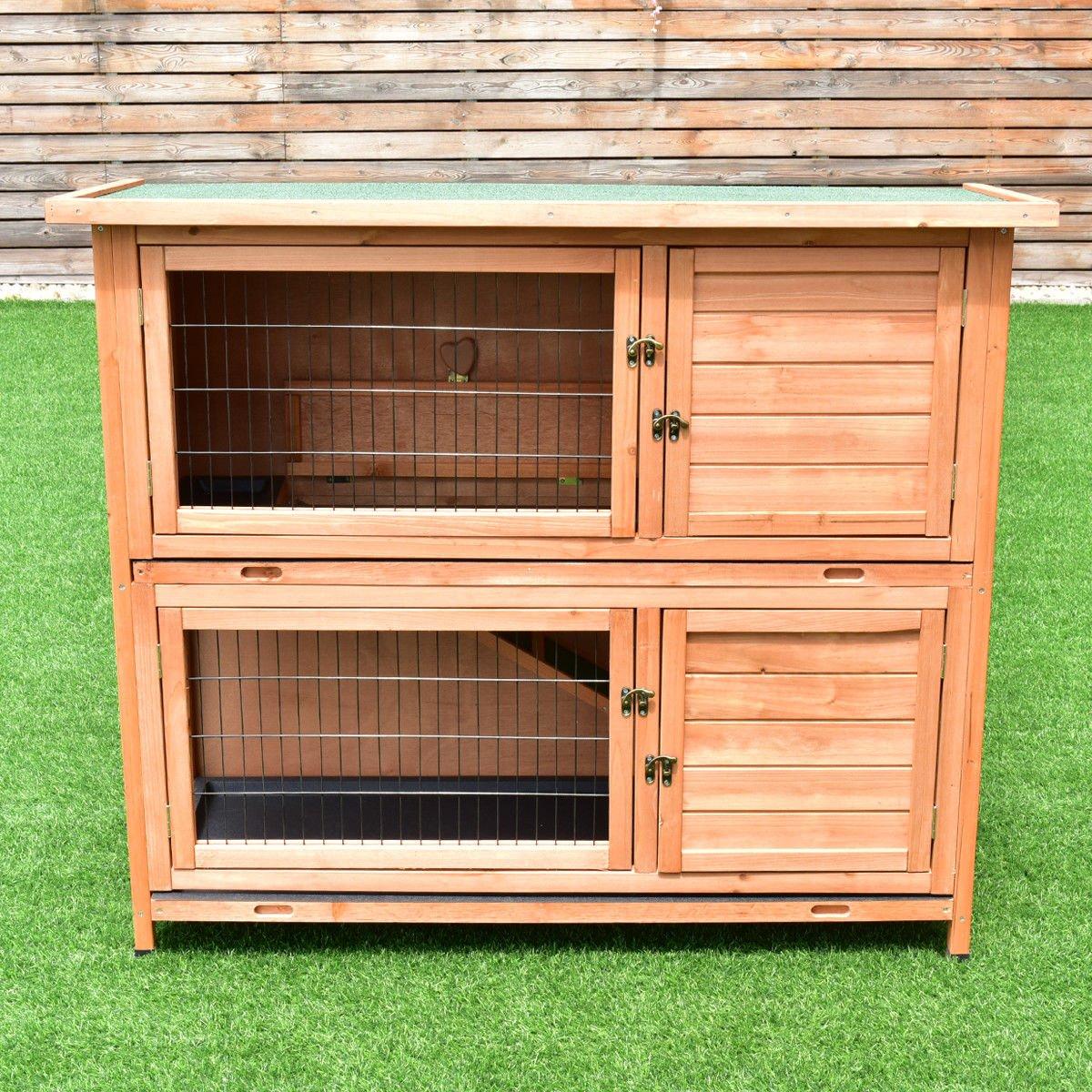 Tangkula Chicken Coop 48'' Rabbit Hutch Wooden Garden Backyard Bunny Hen House Pet Supplies with Ladder by Tangkula (Image #3)