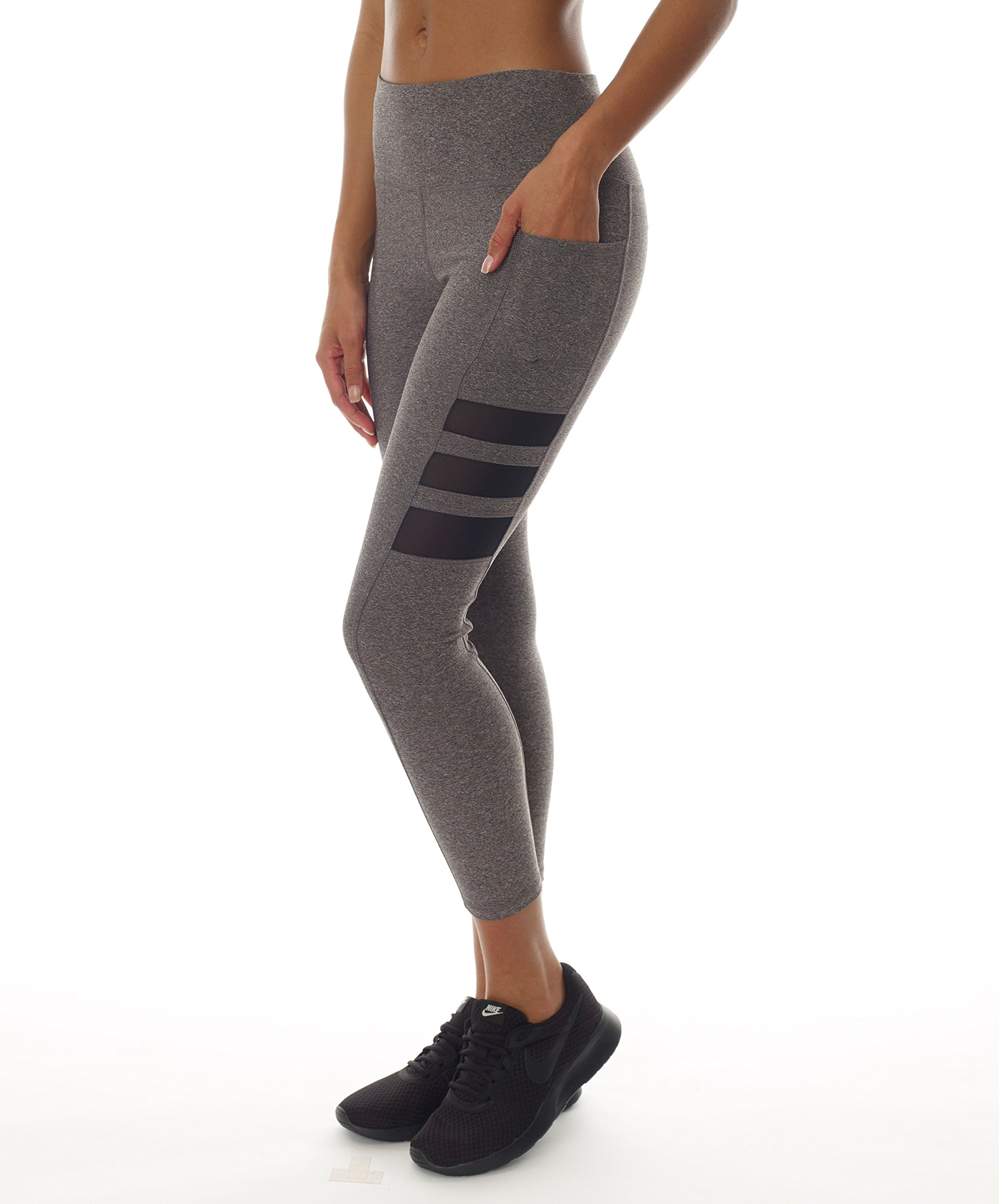 X by Gottex Mesh Workout Leggings | Unique, Printed & Stylish Activewear with Easy Access Pocket | 88% Polyester & 12% Spandax Fabric | Stretchable, Breathable & Dry Fit | Full Length & High Waist