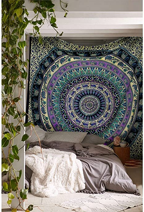 Hippie Elephant Mandala Tapestry India Tapestry Wall Hanging Twin Size Bedspread