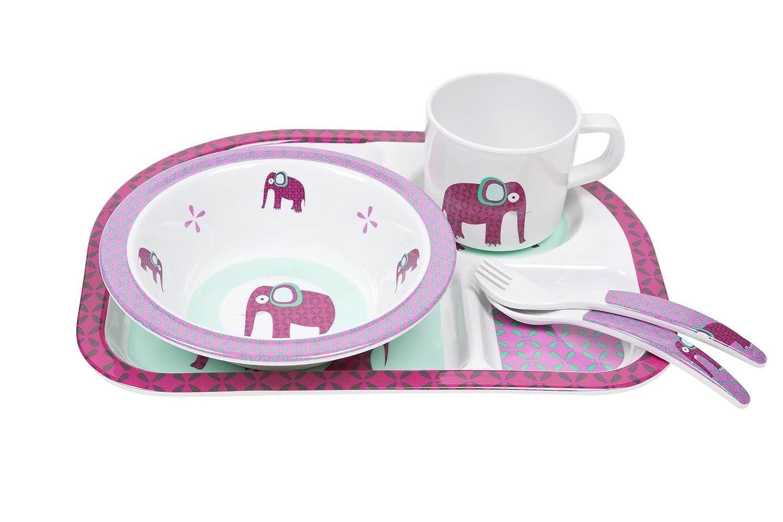 L/ÄSSIG Kindergeschirr Set Sch/üssel Tasse L/öffel Men/üteller rutschfest sp/ülmaschinengeeignet Melamin//Dish Set Wildlife Elephant