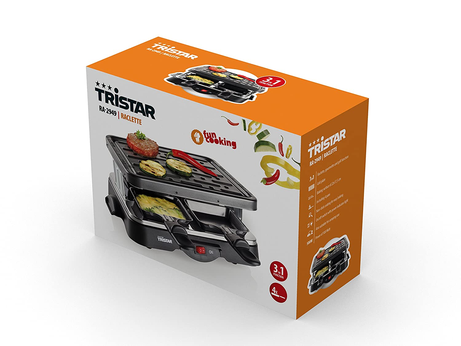 Tristar Raclette 4 Pans-Grill Plate
