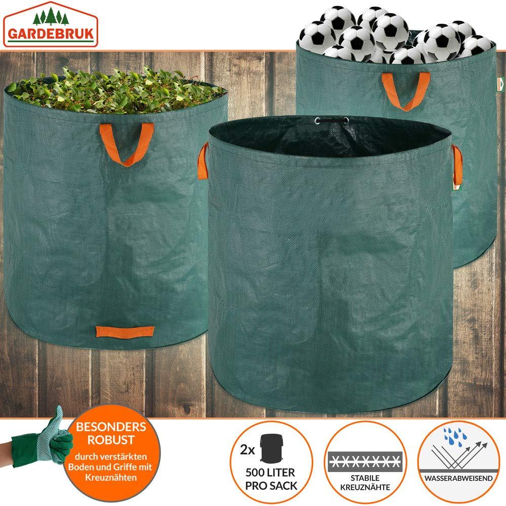 Gartenabfallsack 2 x 500L = 1000L Gartensack mit Stabilisierungsring Laubsack wasserabweisend Gartens/äcke faltbar