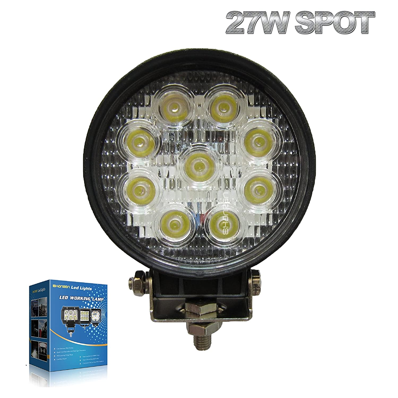 Amazon.com: SHANREN 27W Round LED Work Light Lamp Off Road High Power ATV  Jeep 4x4 Tractor 30 Degree Spot Light: Automotive