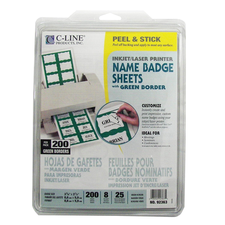 Amazon.com : C-Line Pressure Sensitive Inkjet/Laser Printer Name Badges, Green Border, 3.38 x 2.33 Inches, 200 Labels per Box (92363) : Badge Inserts ...