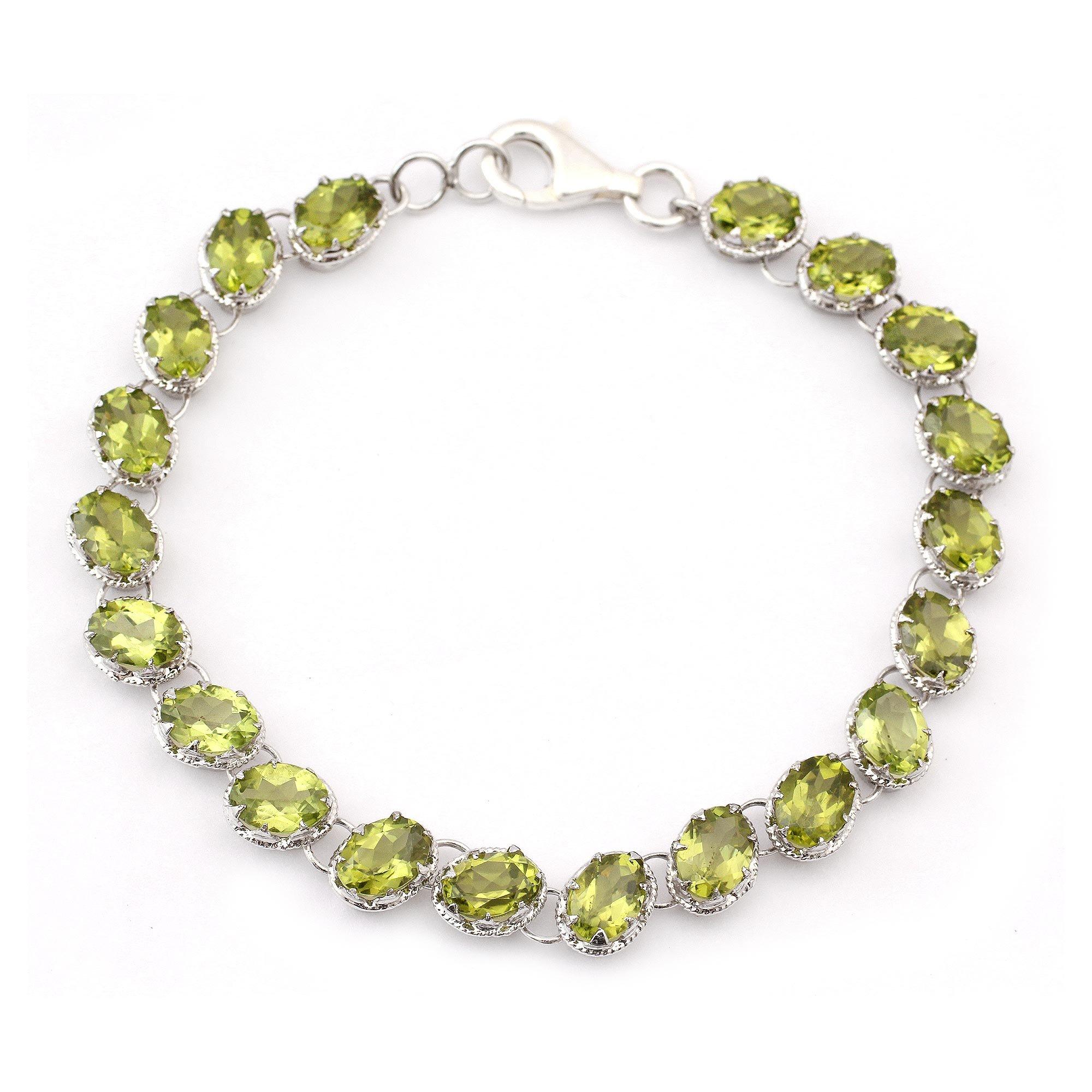 NOVICA Peridot .925 Sterling Silver Tennis Style Bracelet 'Nature's Gift'