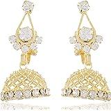 FirstBlush Non Pierced Gold Alloy Jhumki / Clip on Earrings for Women for Non Piercing