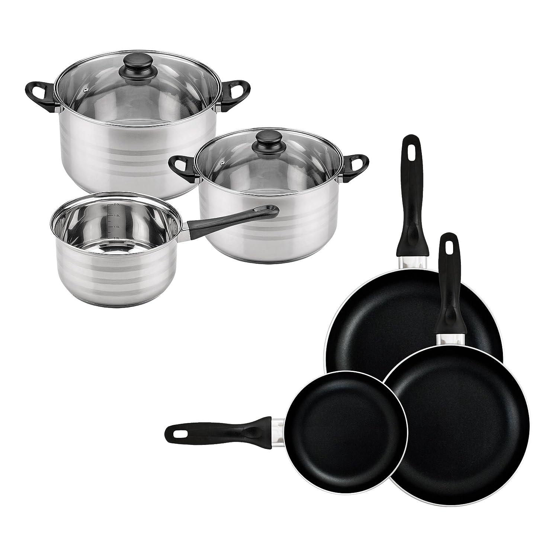 Batería de cocina SIP 8 piezas (dos cazos + tres ollas con tapa de vidrio) con Set de 3 sartenes Ø16/20/24 cms., inducción: Amazon.es: Hogar