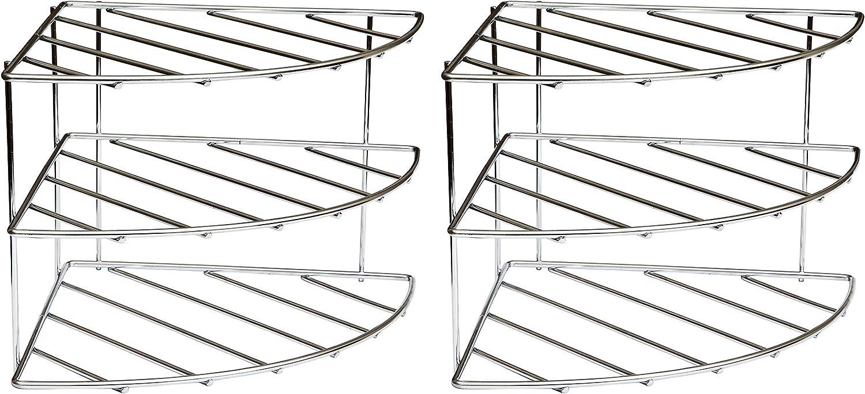 3 Tier Kitchen Cupboard Organisers Storage Amtido Corner Shelf Plate Racks Stand Holder 2-Pack Chrome