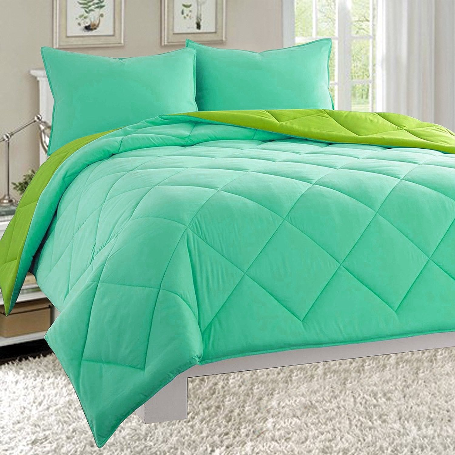 Reversible 3-Piece Comforter Set, Full/Queen, Aqua/Lime