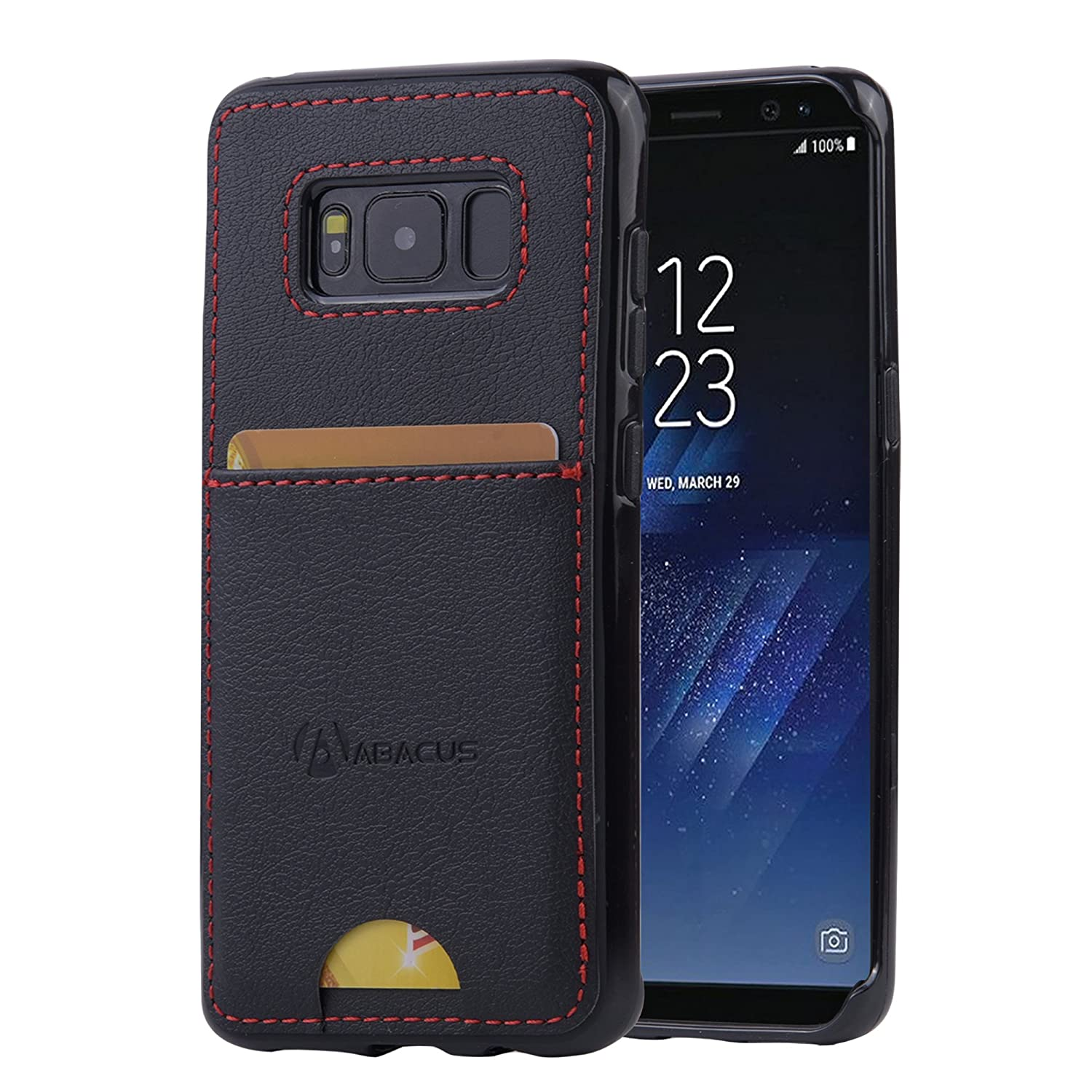 Abacus24-7 Samsung Galaxy S8 Case, S 8 Wallet with RFID Blocking Leather Flip Cover, Black