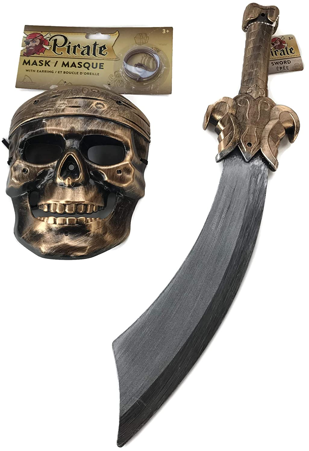 PROSPERITY DEVINE Plastic Pirate Halloween MASK Earing Pirate Sword