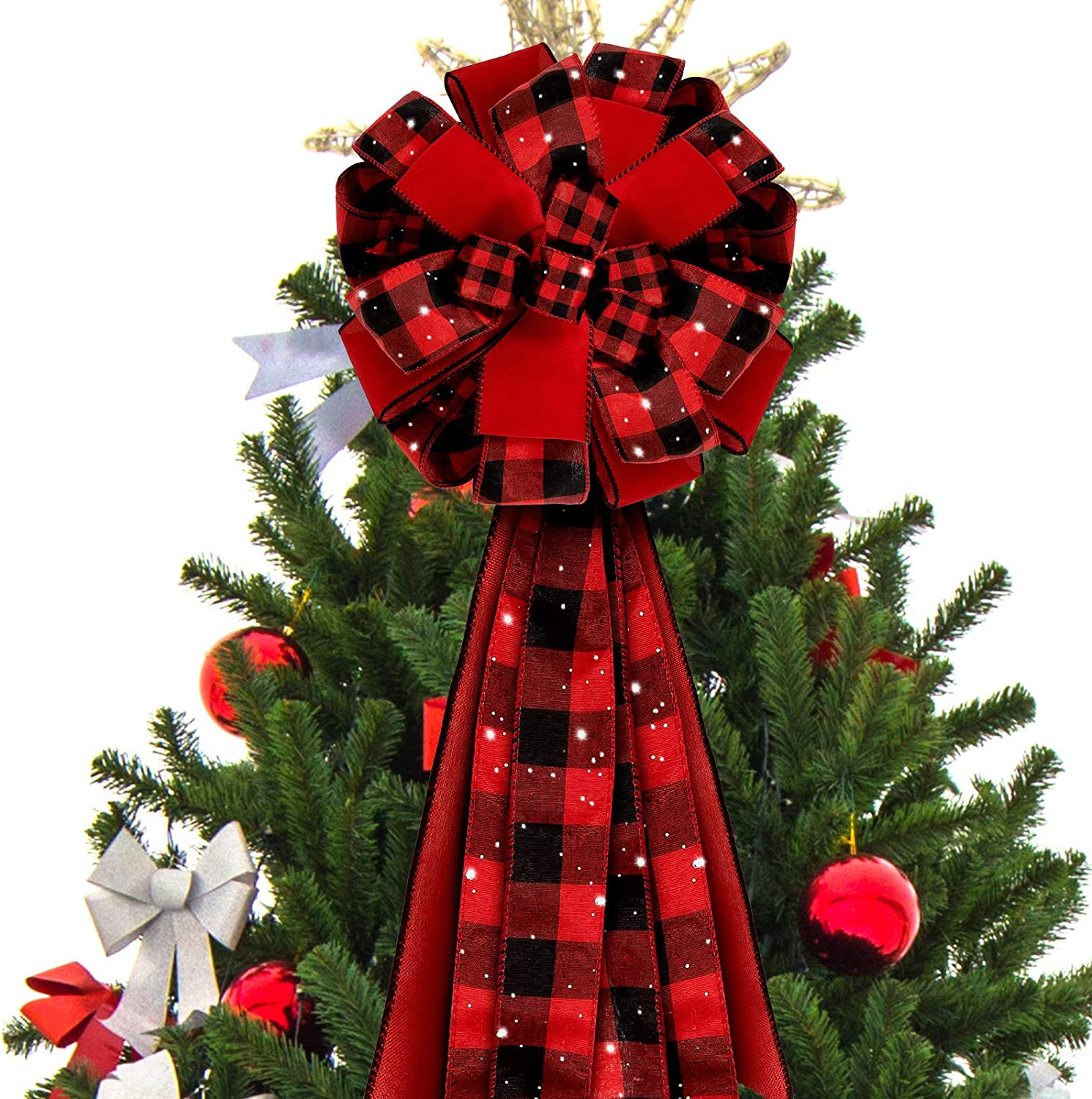 Large Wreath Bow Christmas Party Buffalo Plaid Bows Whaline 3pcs Christmas Bow Decorations 13 x 22in Xmas Decorative Bows Ornaments for Home Decor White Black Bows