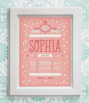NAMENSBILD BABY MÄDCHEN, rosa, personalisiert, Geschenk zur Geburt