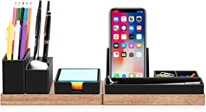 Aothia Desk Organizer with Adjustable Pencil Holder, Phone Stand,Sticky Note Tray and Office Supplies, Office Accessories Storage, Office Decor, Desktop Organization for Home/office (Black)