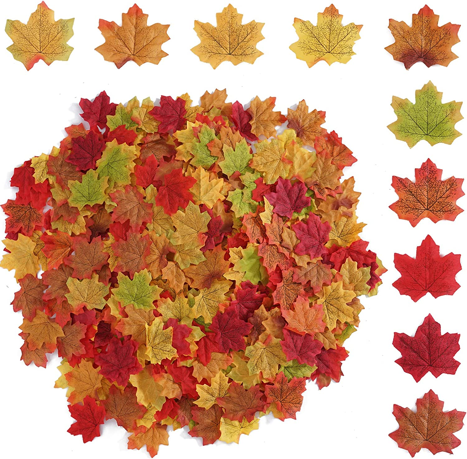 Beferr 1000 PCS Mixed Color Autumn Artificial Maple Leaves for Fall Halloween Thanksgiving Weddings Party Festival Table Decorations