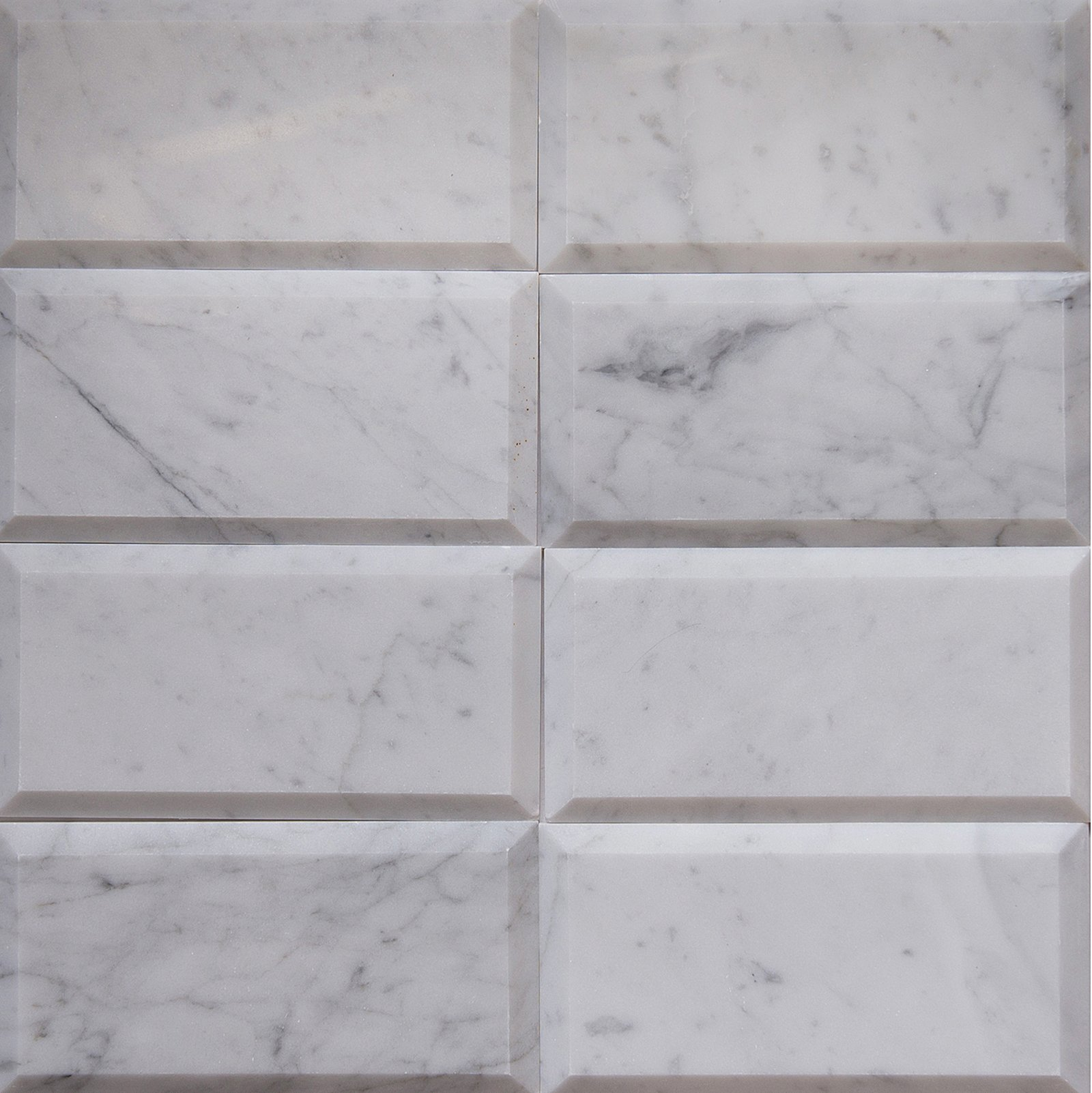 Carrara White Marble Field Tile, CWMT0306-B, 3''X6''X3/8'' Subway Tile, Polished and Deep Beveled (Box of 40 Pieces)