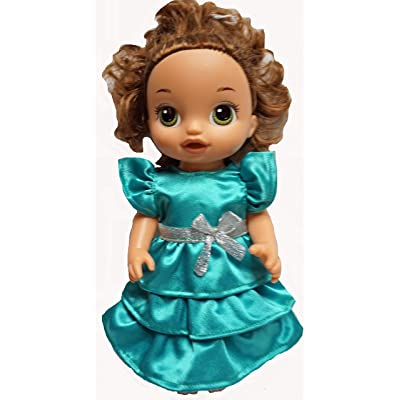 Doll Clothes Superstore Emerald Green Satin Ruffle Dress Fits Baby Alive and Little Baby Dolls: Toys & Games