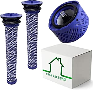 Casa Vacuums Replacement 2+1 Pack. 2 Pre Filters + 1 Hepa Filter for Dyson V6 Absolute Cordless, Stick Vacuum. Compare to Part # 965661-01 & 966741-01