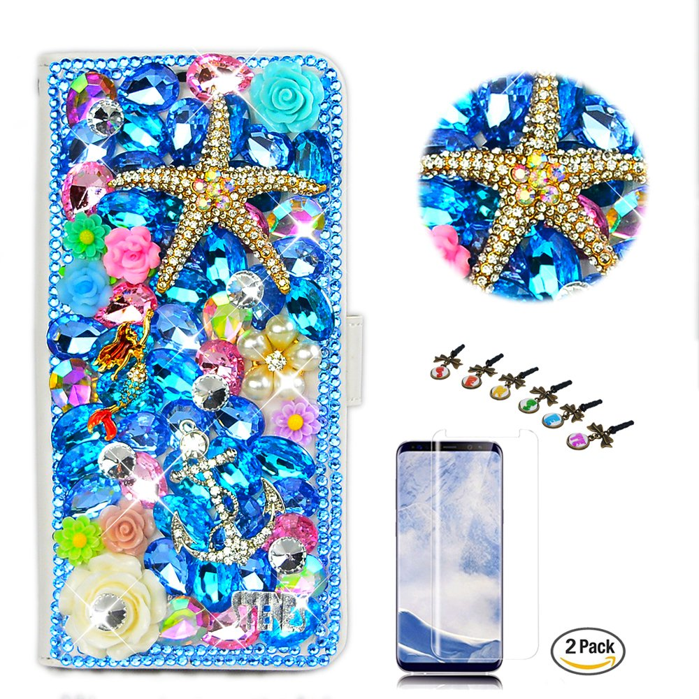 STENES LG Stylo 4 Case - Stylish - 3D Handmade Starfish Mermaid Anchor Flowers Wallet Credit Card Slots Fold Media Stand Leather Cover with Screen Protector for LG Stylo 4 / LG Q710MS - Navy Blue