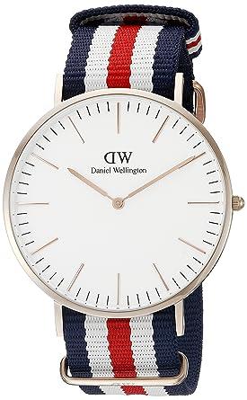 3c0fe90d48cd2d Daniel Wellington Men's 0102DW Analog Quartz Canterbury Round Striped Band  Watch