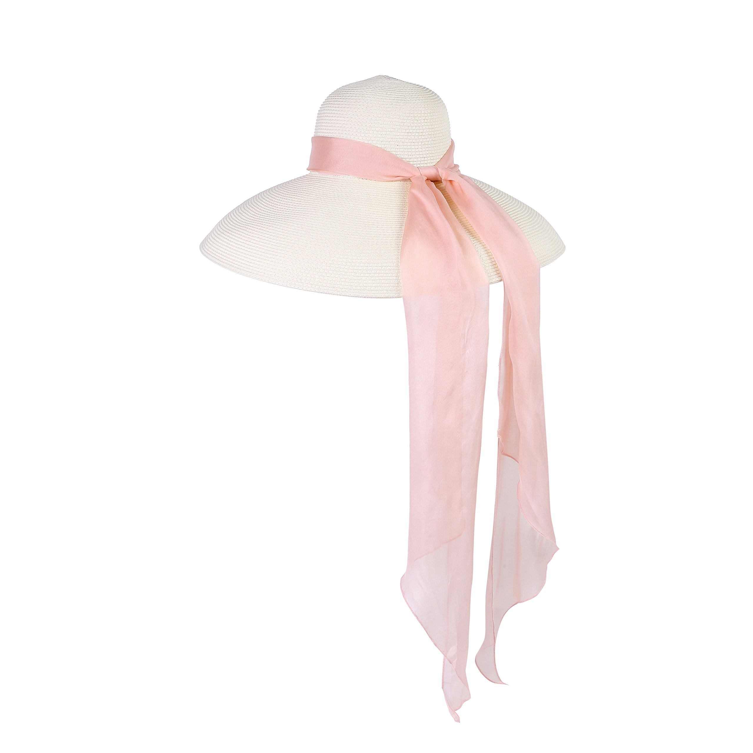 Utopiat Audrey Hepburn Oversized Holiday Travel Beach Straw Hat With Silk Chiffon Scarf In Muted Rose