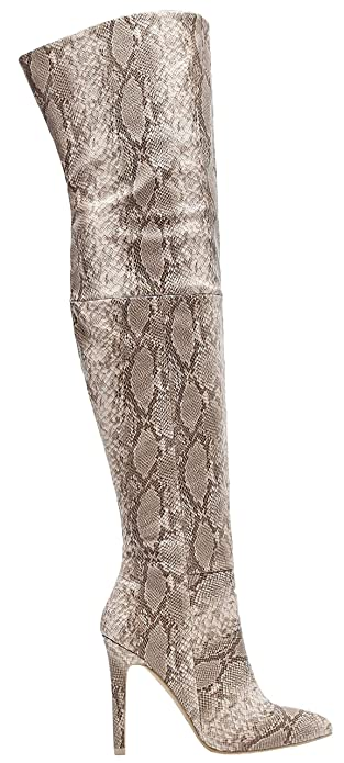 wholesale sales 50% off a great variety of models Mackin J 141D-18 Over The Knee Thigh High Snakeskin Print Pointed Toe  Stiletto Heel Boots