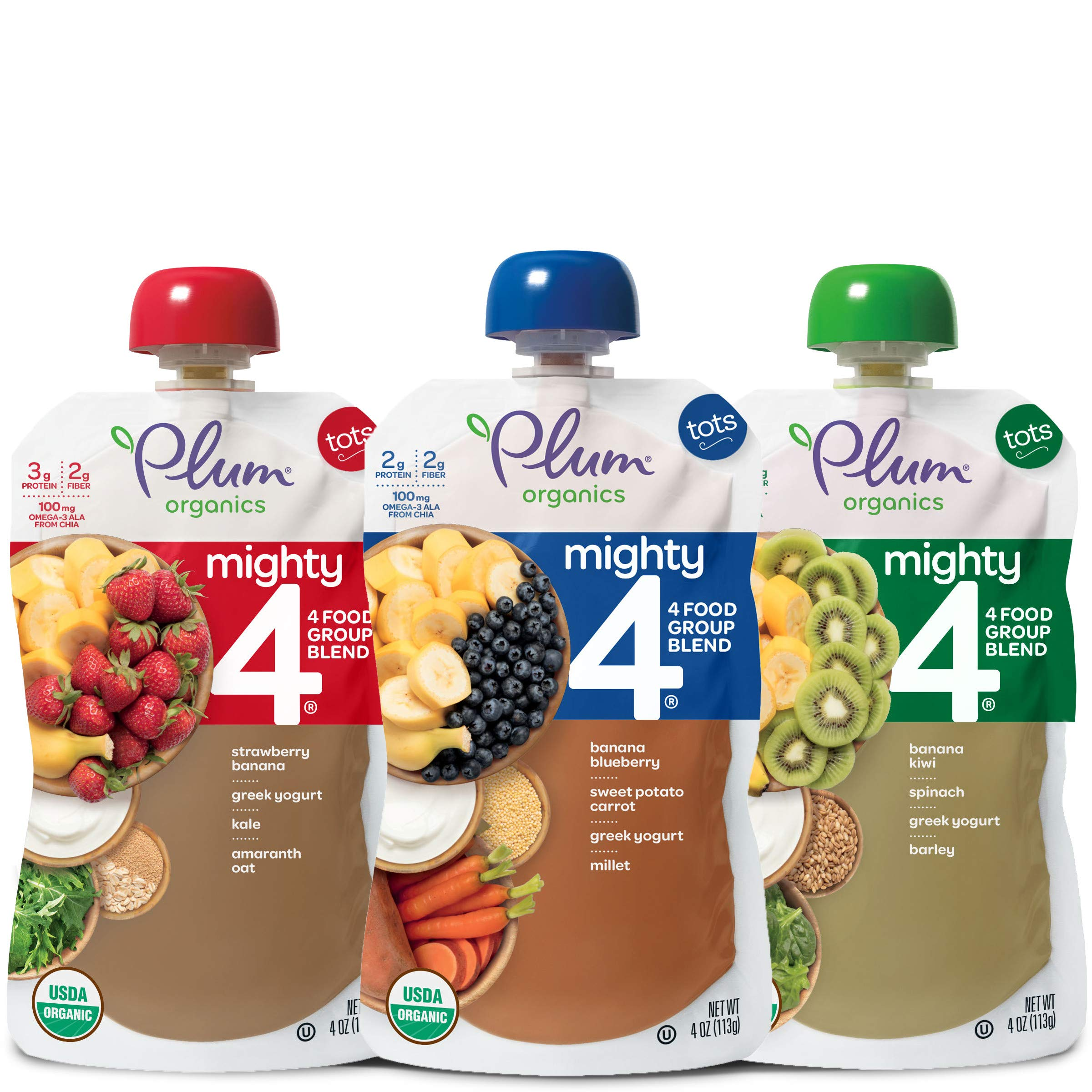 Plum Organics Mighty 4, Organic Toddler Food, Variety Pack, 4 ounce pouches (Pack of 18) (Packaging May Vary) by Plum Organics