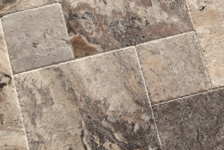 Unfilled // Brushed /& Chiseled Silver Travertine Versailles // Ashlar Pattern Tiles Lot of 200 Sq. Ft. 25 Bundles