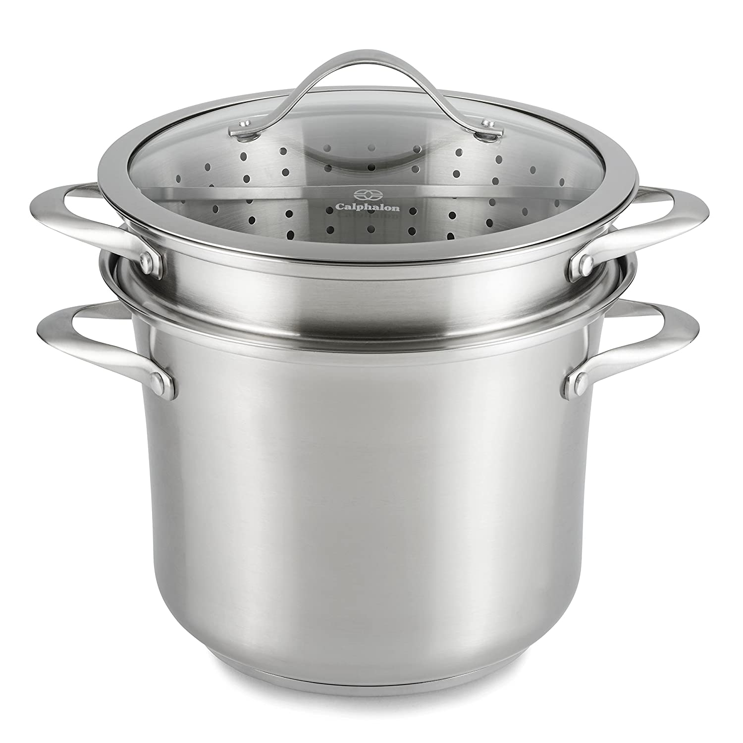 Amazon: Calphalon Contemporary Stainless 8quart Pot With Glass Lid And  2 Inserts: Multipots: Kitchen & Dining