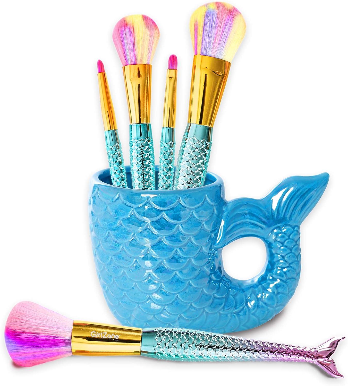GirlZone Regalos para Niñas -Juego de Maquillaje Sirena para Niñas 5 Brochas y Pinceles Arcoíris para Labios, Ojos, Polvos, Contorno, Blush y Taza para Guardarlos
