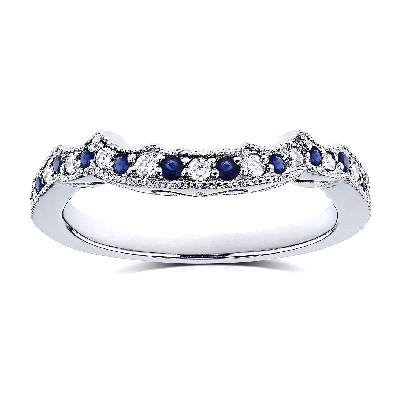 Amazon Com 1 5ct Tcw Sapphire And Diamond Contour Wedding Ring In