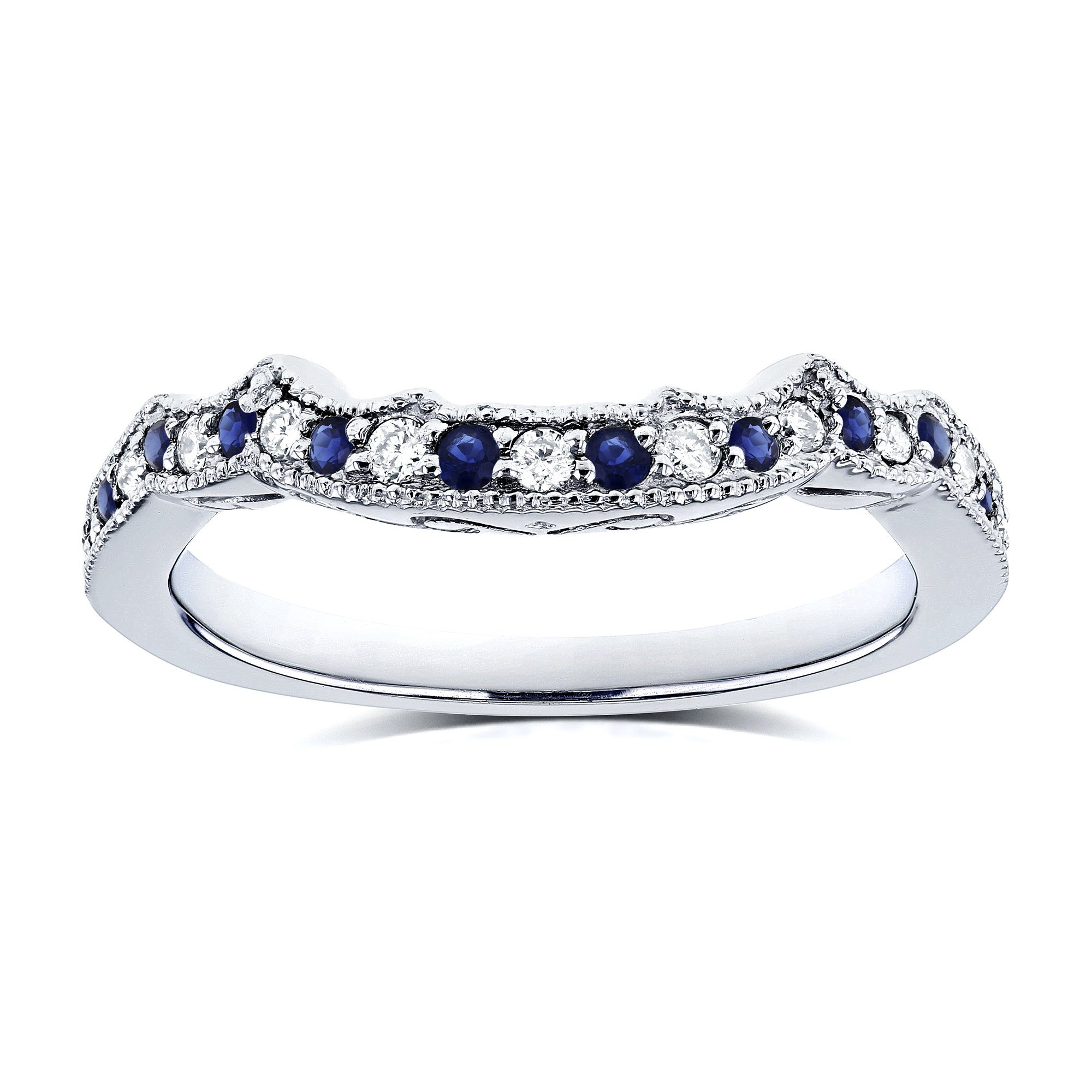 1/5ct TCW Sapphire and Diamond Contour Wedding Ring in 14k White Gold - Size 5.5