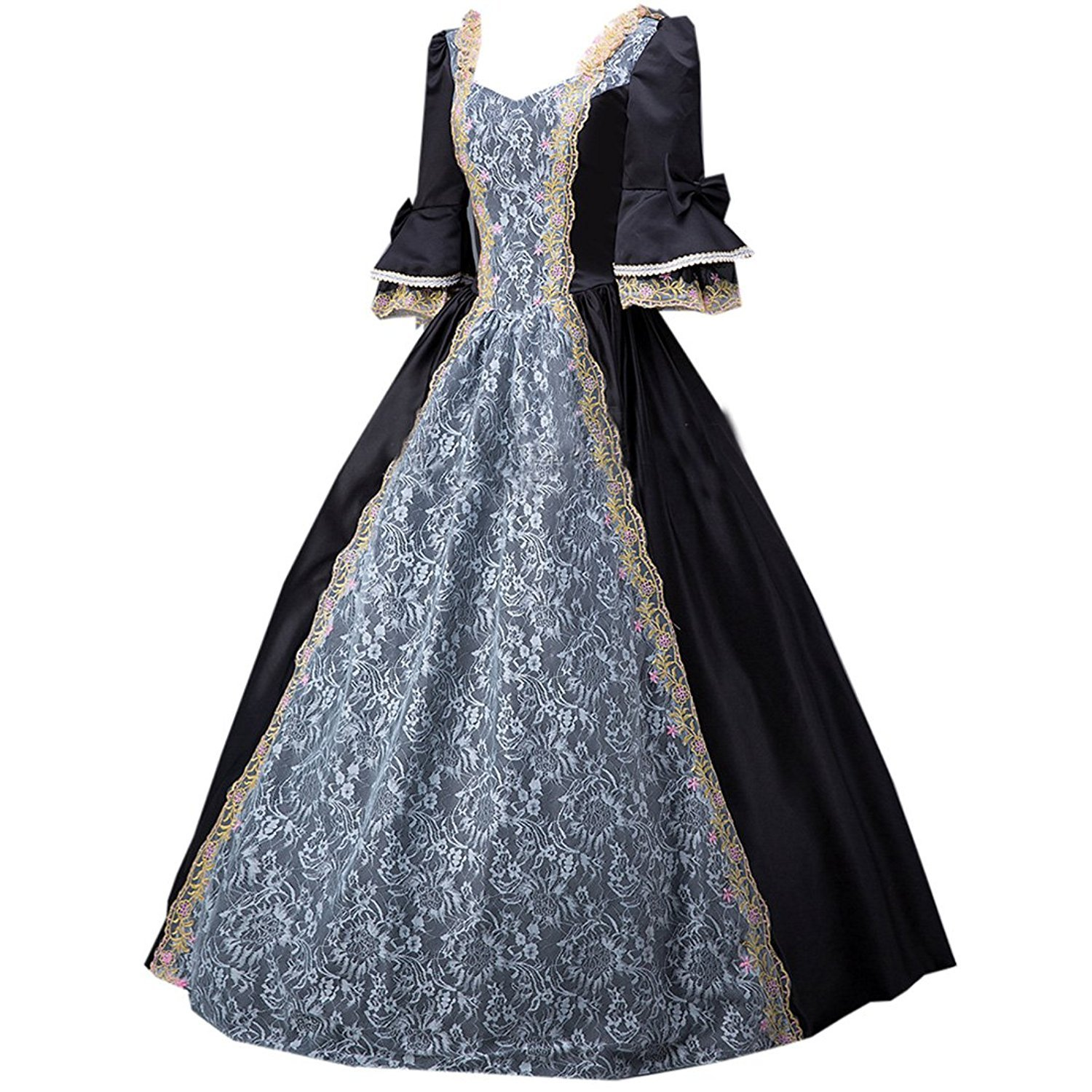 23d9ee9d1569 Amazon.com: ROLECOS Womens Royal Retro Medieval Renaissance Dresses Lady  Satin Masquerade Dress: Clothing