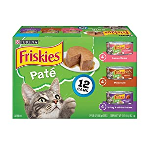 Purina Friskies Pate Wet Cat Food Variety Pack; Salmon, Turkey & Grilled - (2 packs of 12) 5.5 oz. Cans