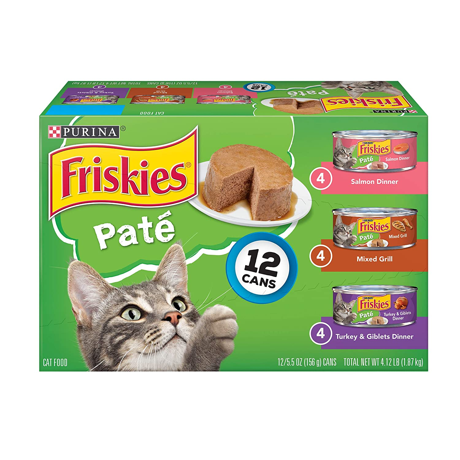 Purina Friskies Pate Wet Cat Food Variety Pack; Salmon, Turkey & Grilled