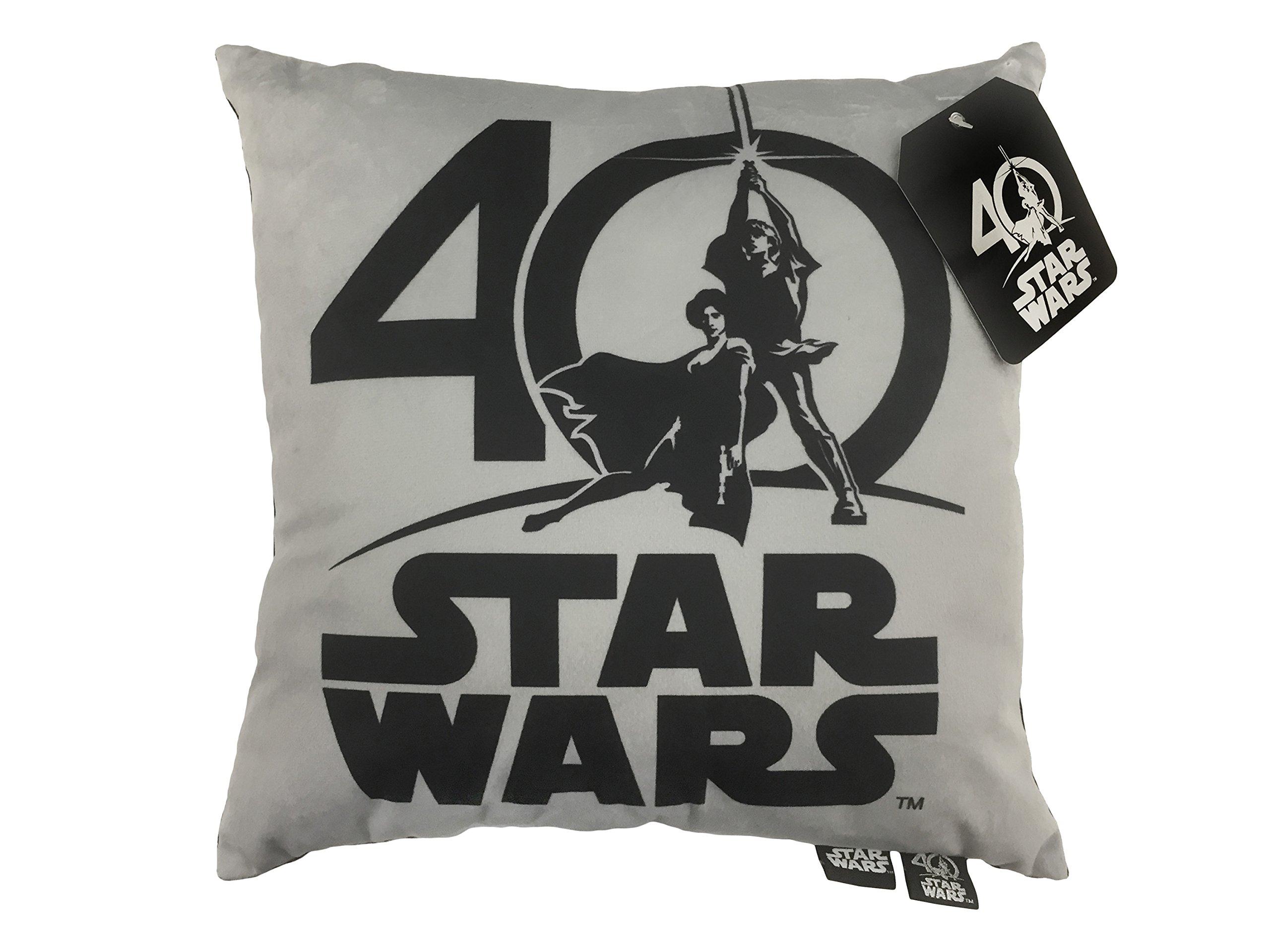 Star Wars 40th Logo Decorative Toss Throw Pillow, Gray