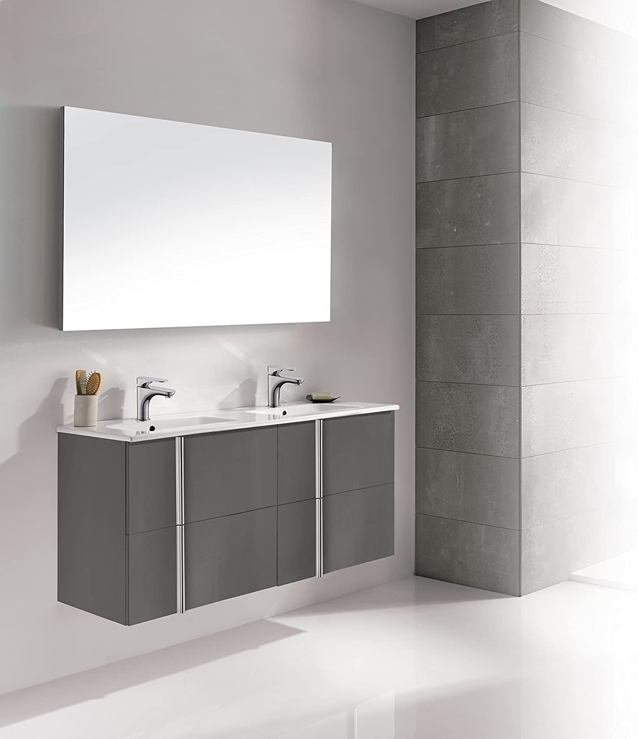 Dawn Onix Series Anthracite Vanity Set Onix 4807 Cabinets Onic124609 07 One Countertop Rcst124626 Two Mirror Romm124621 48 Inches Amazon Co Uk Kitchen Home