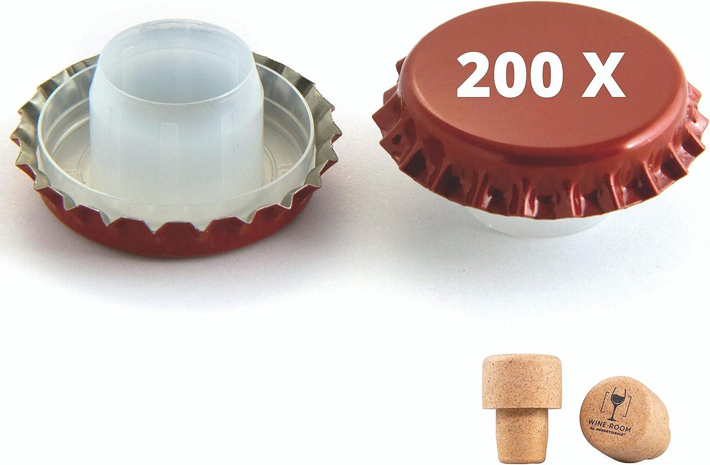 2 Pilzstopfen Weiss Sekt 200 Anti-Rost Kronkorken mit Bidoule Medusa /Ø 29 mm f/ür still Wein inkl
