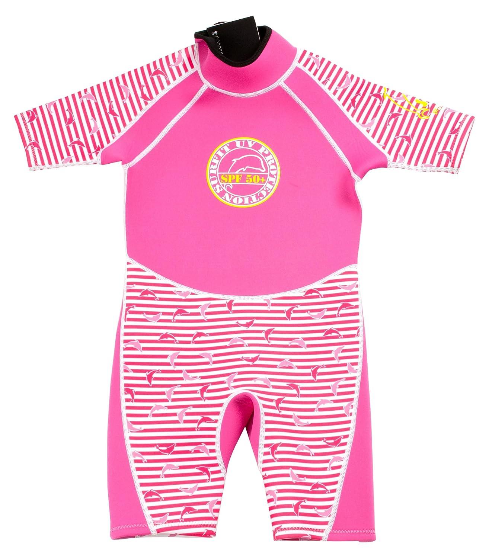 Surfit - Muta a righe con logo delfino, gamba corta, bambina, Rosa (Rosa/Bianco), 8-9 DWP5