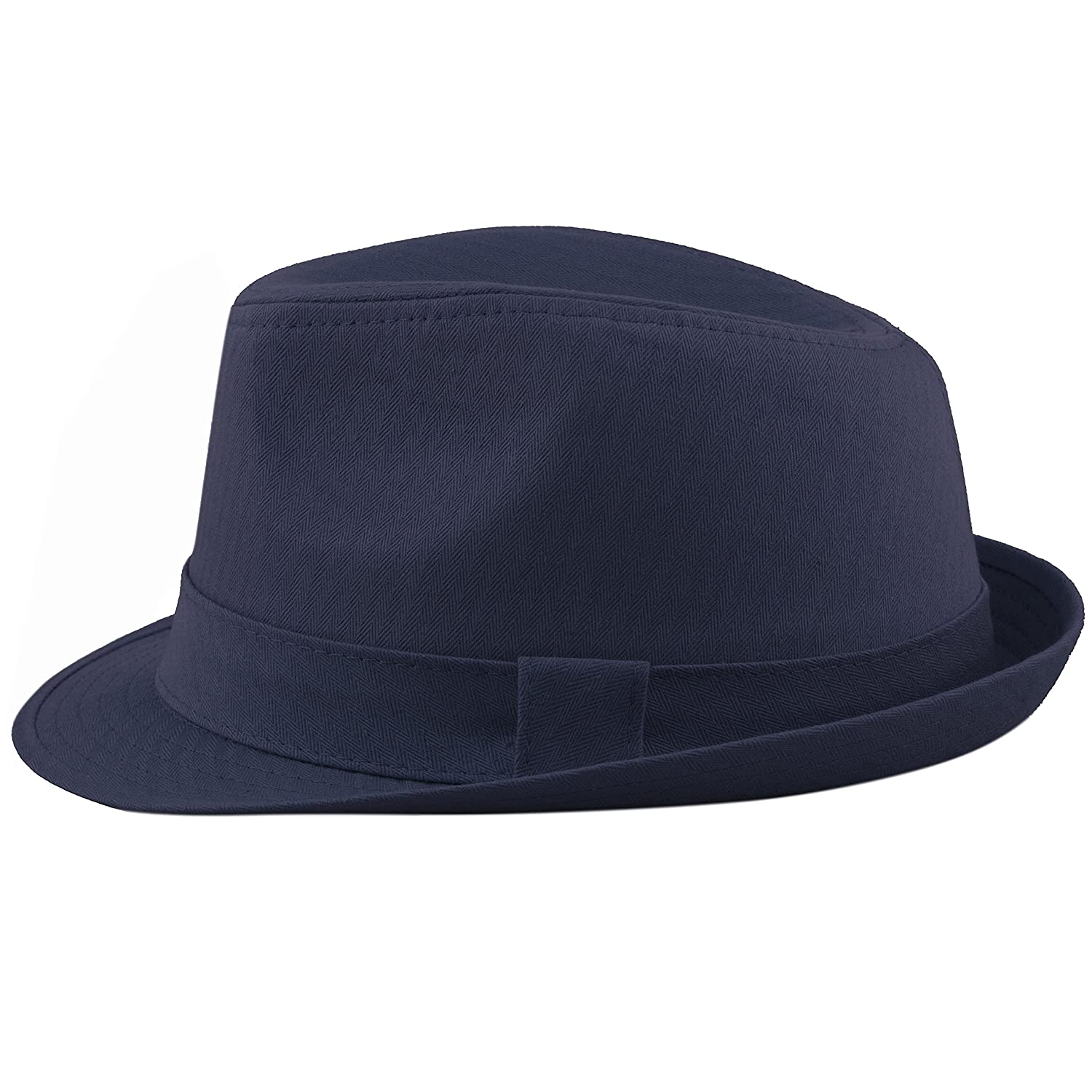 7317dba7f7d36 THE HAT DEPOT Unisex Cotton Twill Herringbone Fedora Hat at Amazon Men s  Clothing store