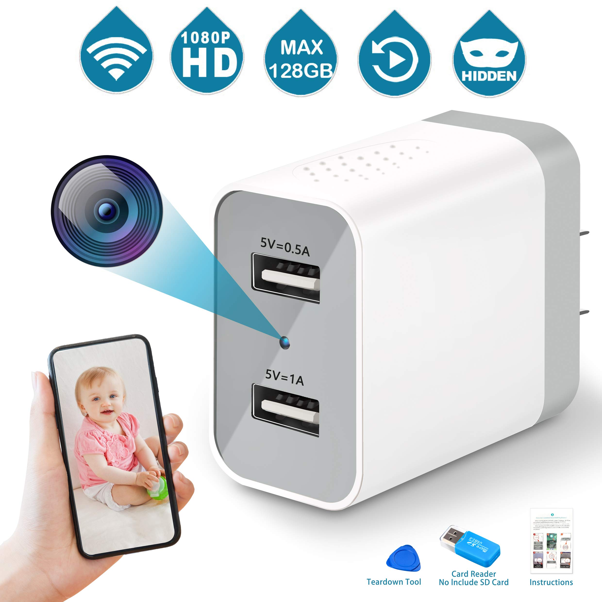 Spy Camera Wireless Hidden, 2019 Upgraded Version WiFi Camera 1080P HD Hidden Camera Wall Charger Nanny Cam with Remote Viewing & Motion Detection for Home, Office, Store - White by Aynone