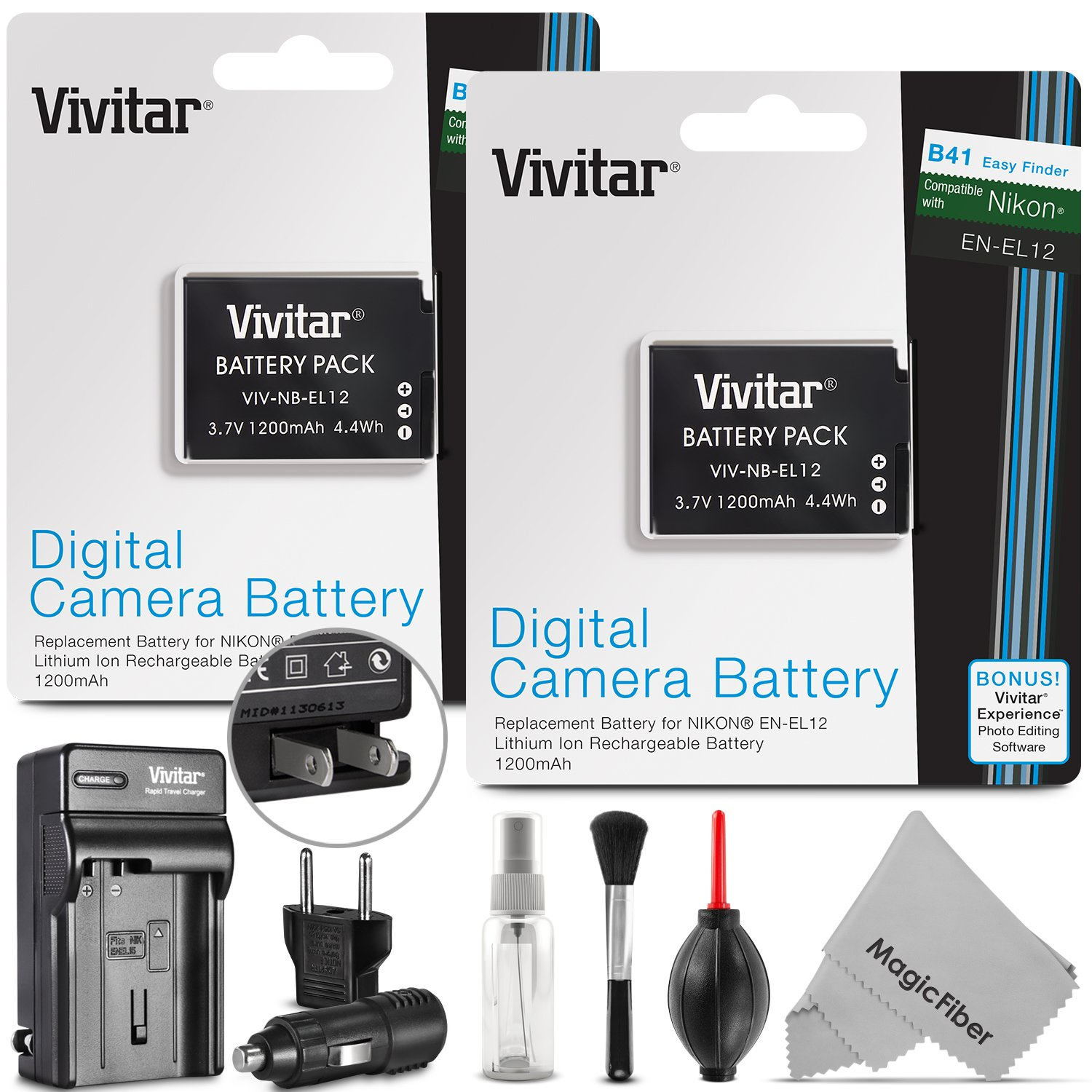 (2 Pack) EN-EL12 Battery and Charger Kit for NIKON Coolpix AW100 AW110 AW120 S9500 S9300 S9200 S9100 S8200 S8100 S6300 P330 - Includes: 2 Vivitar Ultra High Capacity Rechargeable 1200mAh Li-ion Batteries + AC/DC Vivitar Rapid Travel Charger + Cleaning Kit