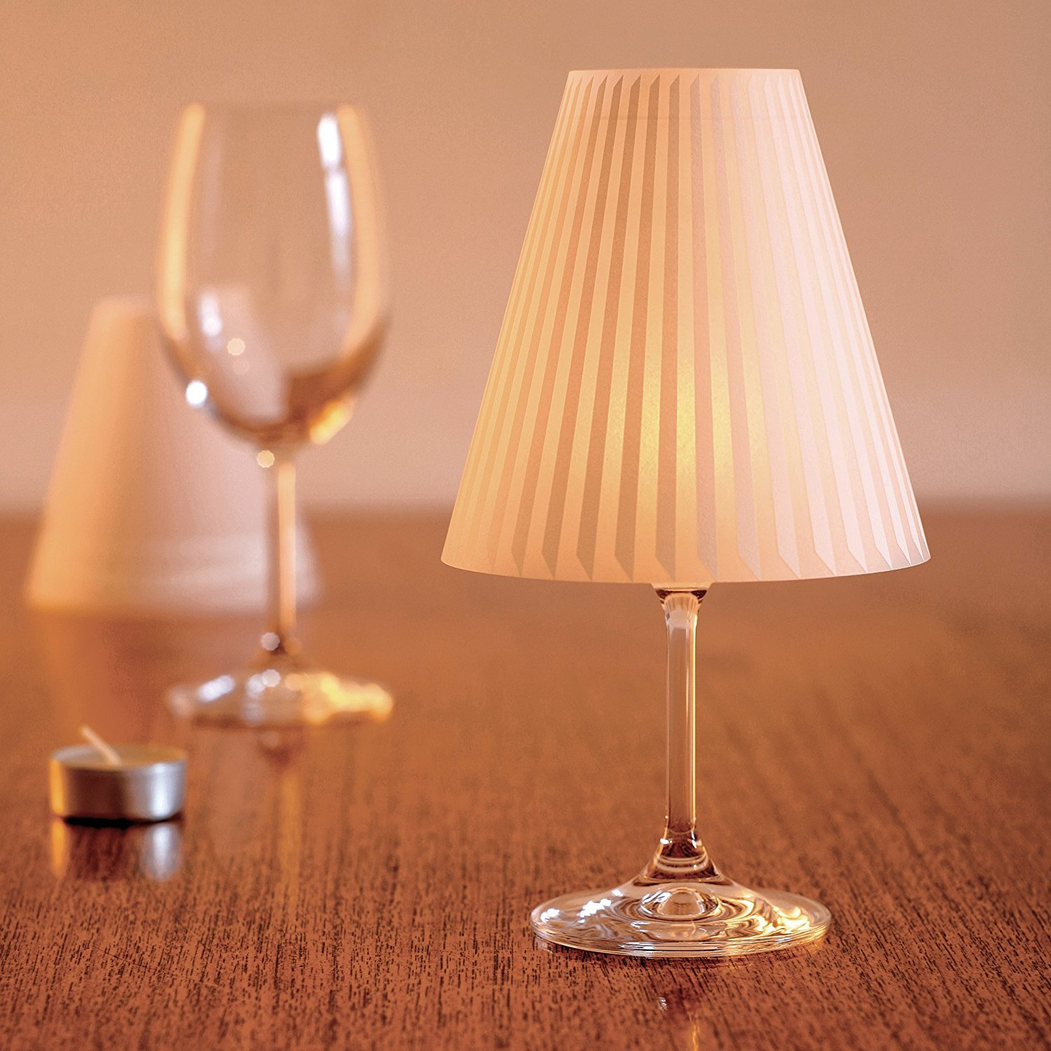 Amazon.com | Gorgeous Helen · 3 Enchanting Lampshades For Wine Glasses With  Tea Lights: Wine Glasses
