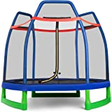 GYMAX 7ft Kids Trampoline, Jumping Trampoline with Safety Enclosure Net & Spring Pad for Outdoor/Indoor, Built-in Zipper…