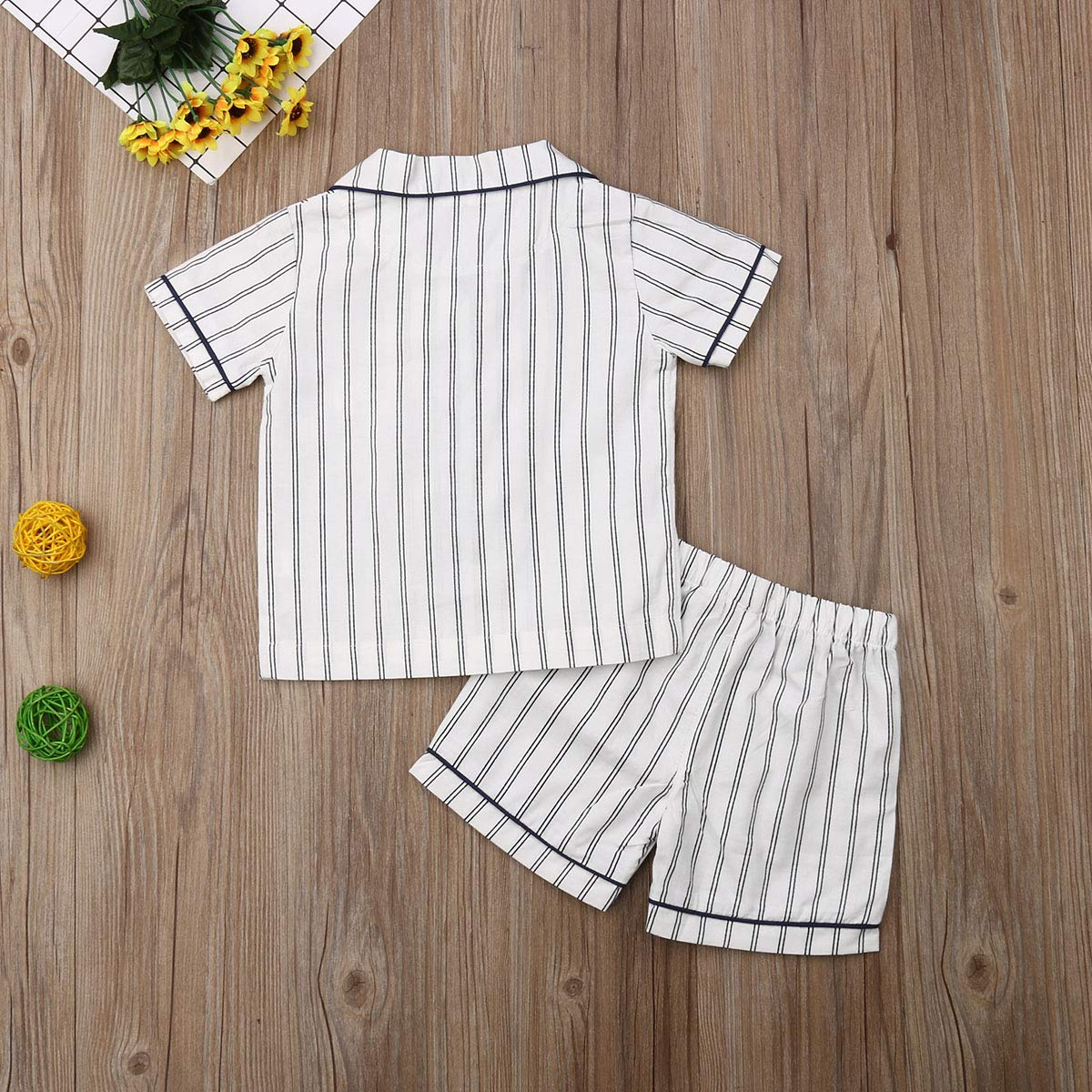 GuliriFei Little Boys Short Pajamas Sets Summer Sleepwears Toddler Kids Striped Short Pjs Sets