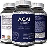 Pure Acai Berry Pills – 600mg Premium Concentrate Pills for Weight Loss – Fat Burner Pills – 100% Natural Potent Acai Berry Diet Supplement Capsules – Antioxidant Cleanse + Detox
