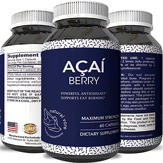 Acai Berry Antioxidant Weight Loss Supplement Detox Cleanse Immune System Boost Superfood Health Fat Burning Support Digestion Cardiovascular Health Detoxifying Dietary Supplement Capsules by Natural Vore