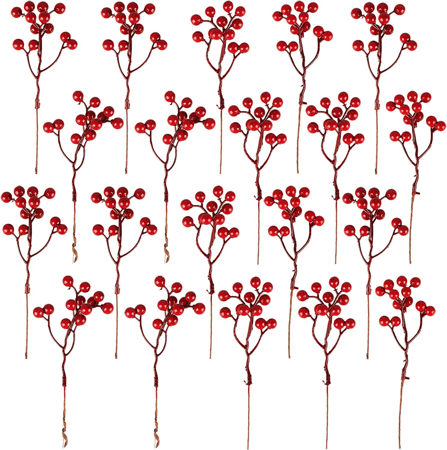 Fangoo 20 Pack Artificial Red Berry Stems, 7.1 Inch Burgundy Red Berry Picks Holly Berries Branches for Christmas Tree Decorations Crafts Wedding Holiday Season Winter Décor Home Decor